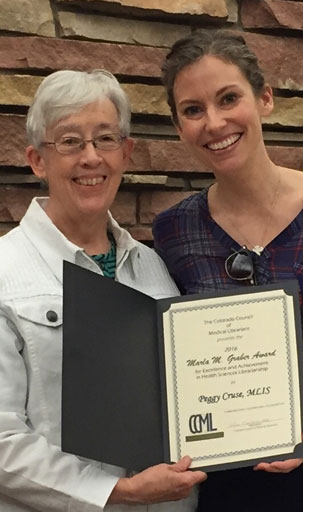 Peggy Cruse (right) recipient of 2016 CCML Marla Graber Award